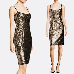 NWT Milly 'Tara' black Gold Sequined  Dress